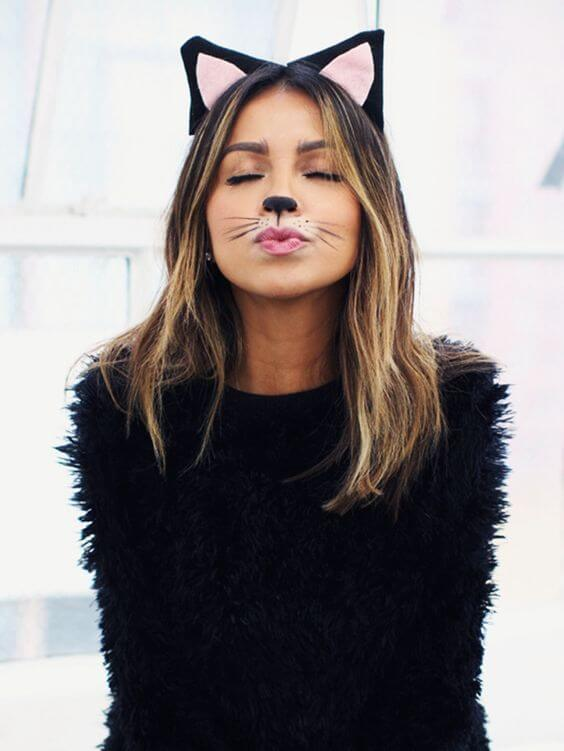 cat halloween costume ideas with makeup for girls