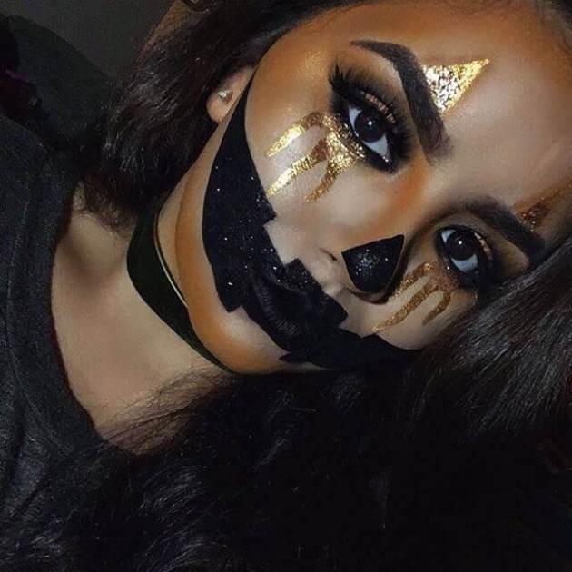 halloween glittery jack-o-lantern makeup