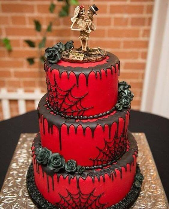red and black spider web halloween wedding cake