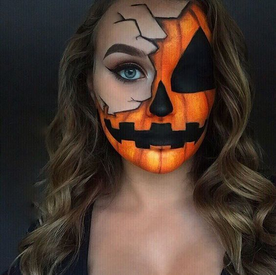 scary witched pumpkin face makeup looks