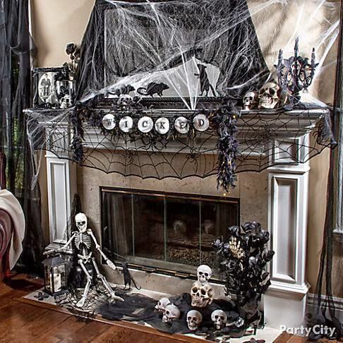 spooky fireplace mantel halloween decorations