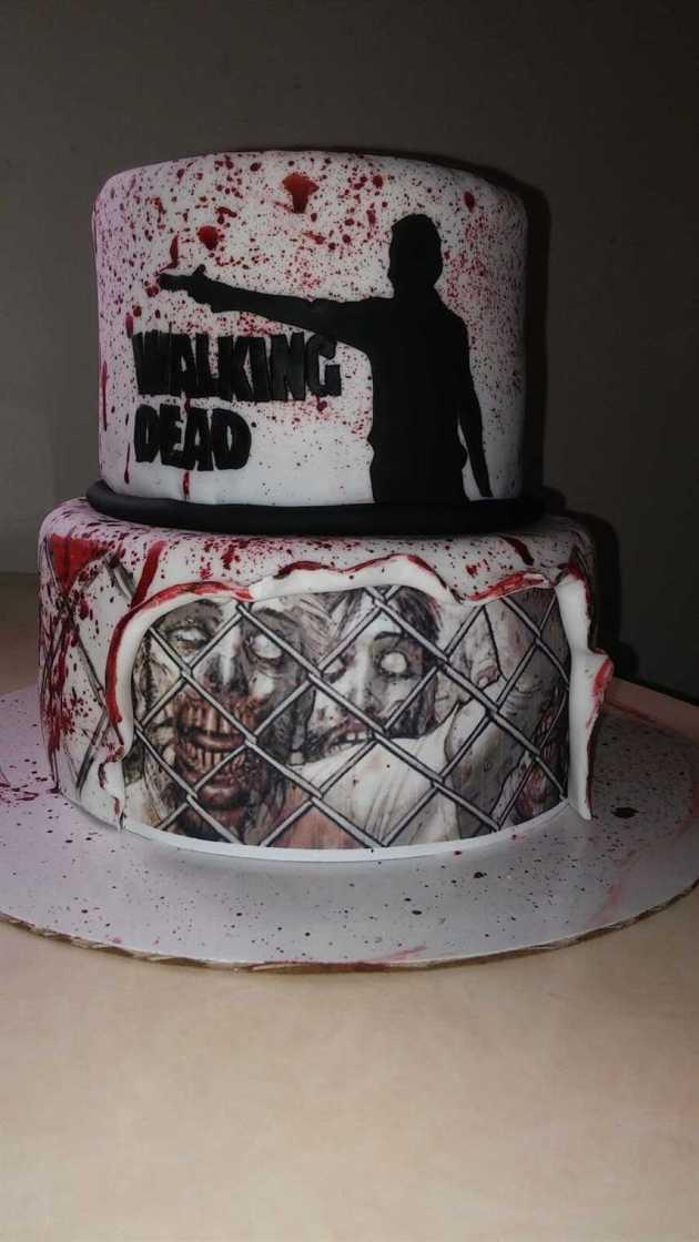 the walking dead blood splatter wedding cake
