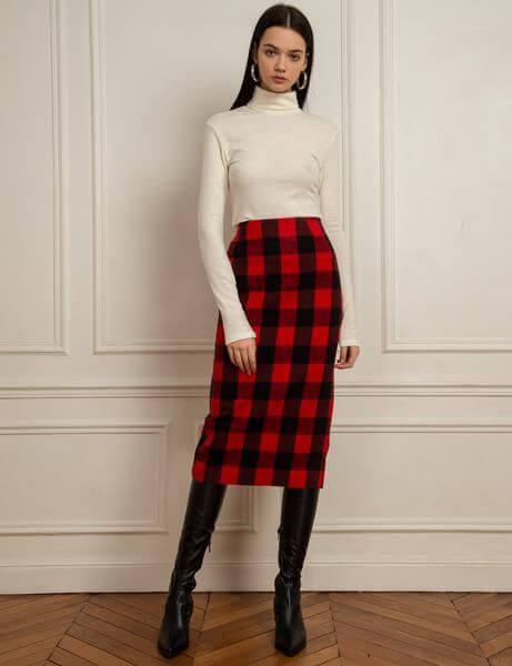 christmas plaid pencil skirt outfit ideas for teenage girl