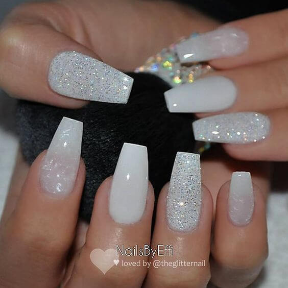 coffin nails white glitter gel