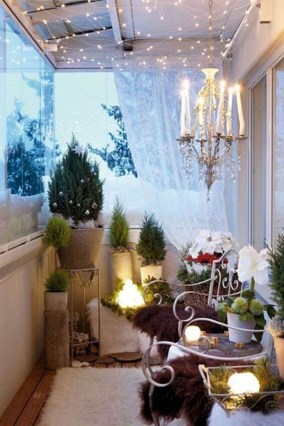 diy christmas balcony decor ideas with small trees