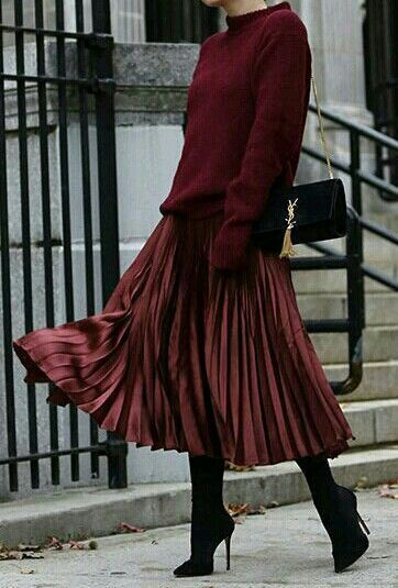 maroon pleated dress with sweater outfit ideas for christmas church