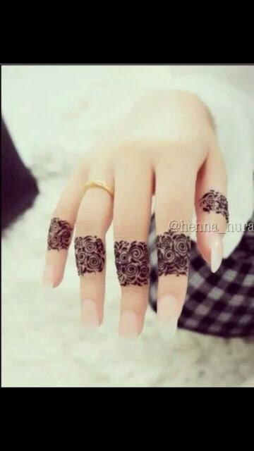 rose flowers ring mehndi designs on fingers