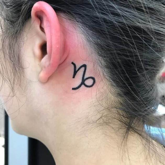 small capricorn sign tattoo ideas behind ear