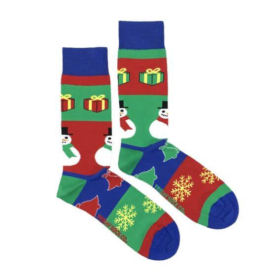 snowflakes with snowman-jingle bells and christmas gifts ugly socks