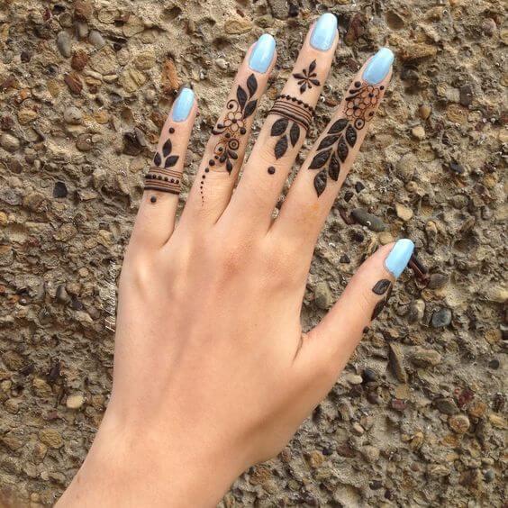 stylish ring style mehndi designs on fingers