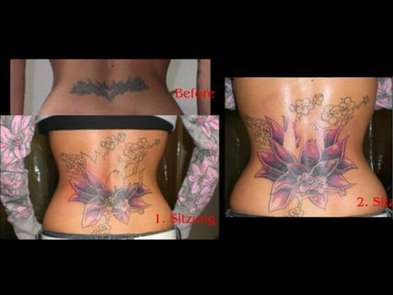 cover up lotus flower tattoo design on lower back