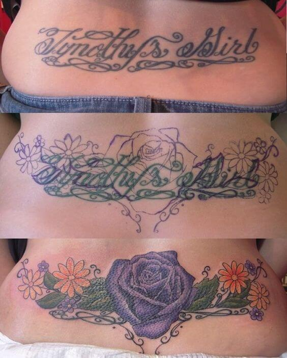 flower cover up tattoo design on lower back