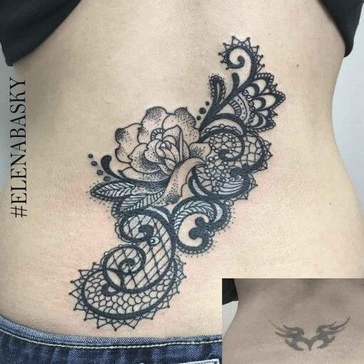 lower back flower lace cover up tattoo design