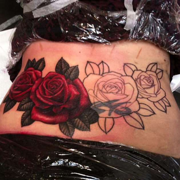 lower back sexy rose flower cover up tattoos