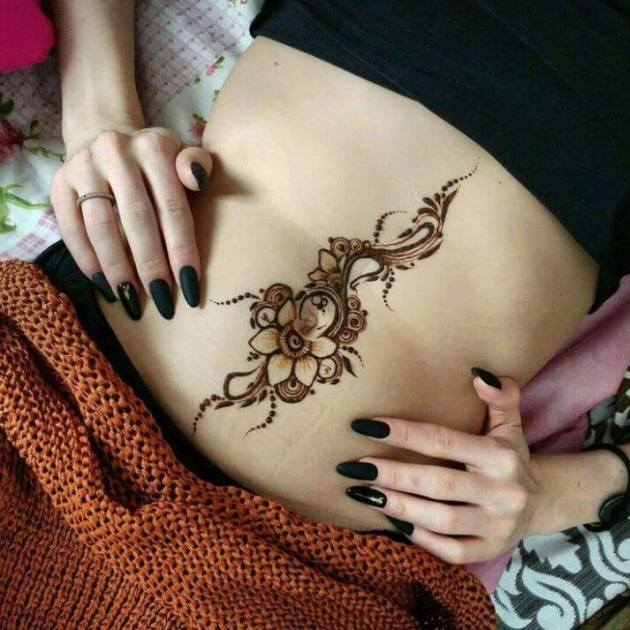 cover scars on stomach henna floral tattoo