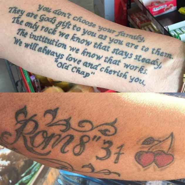 family bible scripture tattoo on forearm