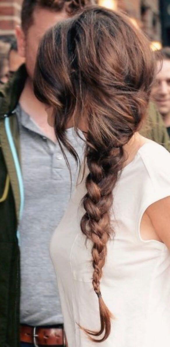 side braid wavy hair