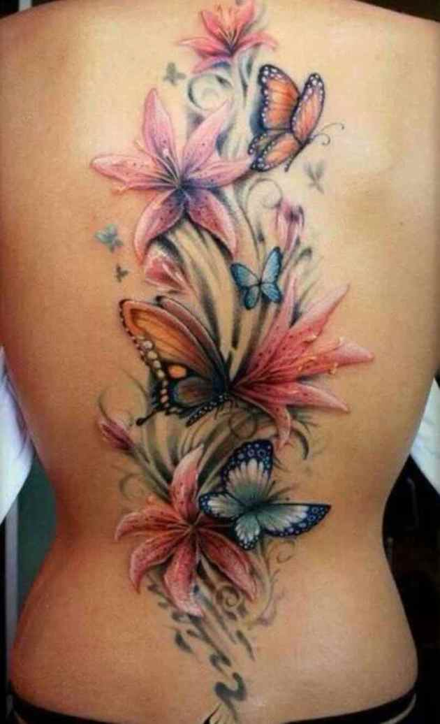 butterflies and jasmine flower tattoo design on back