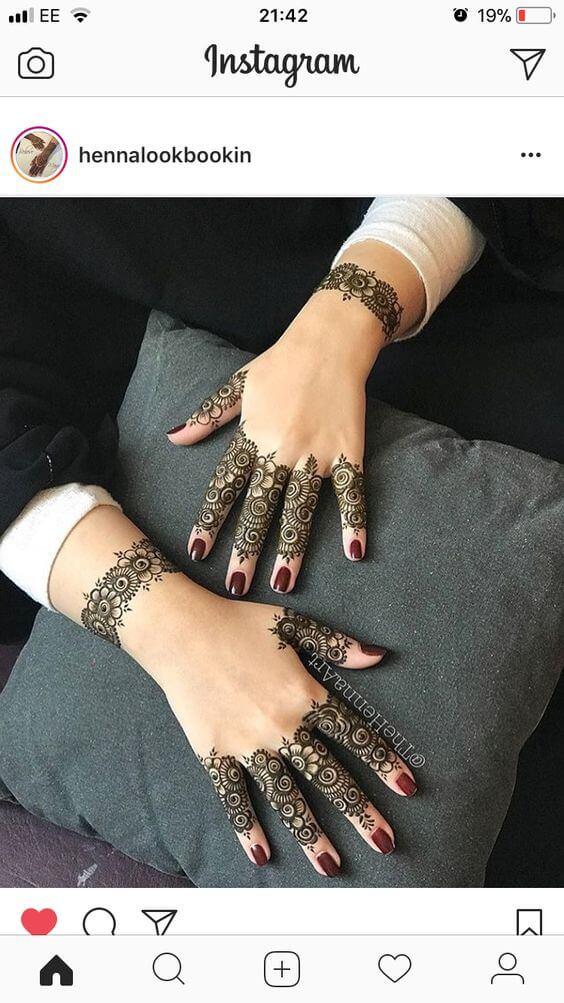 easy flower lace bracelet mehndi design
