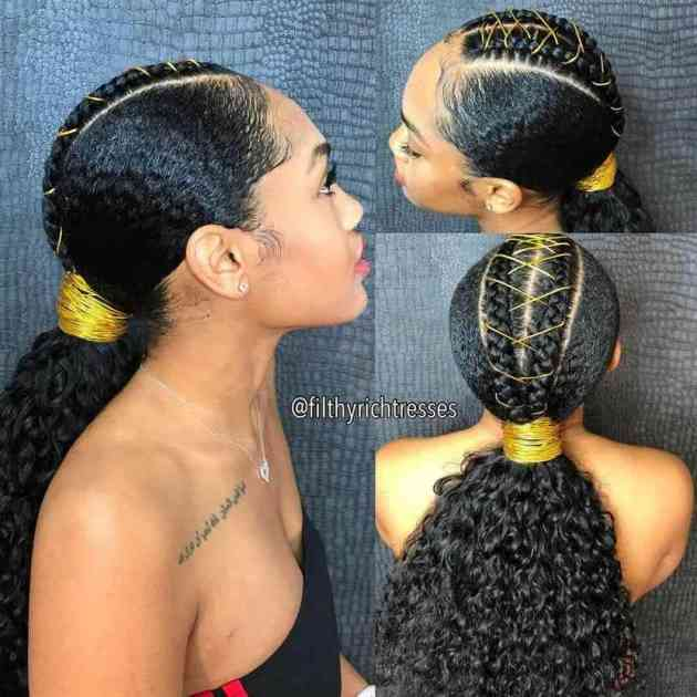 dimensional braided natural hair ponytail hairstyle for black woman
