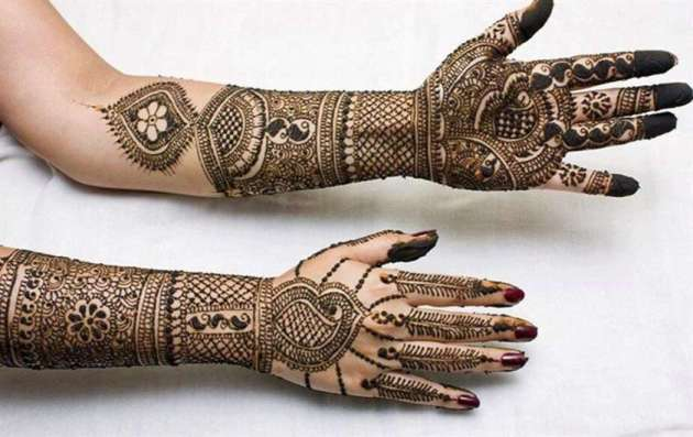 full hand traditional pakistani-indian chain mehndi designs