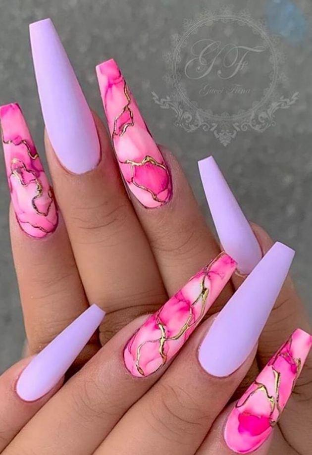 marble matte long nail designs 2020