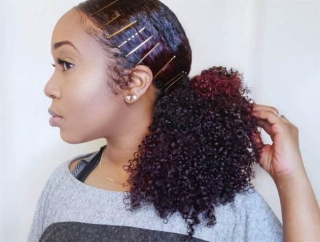 sleek natural hair pony style