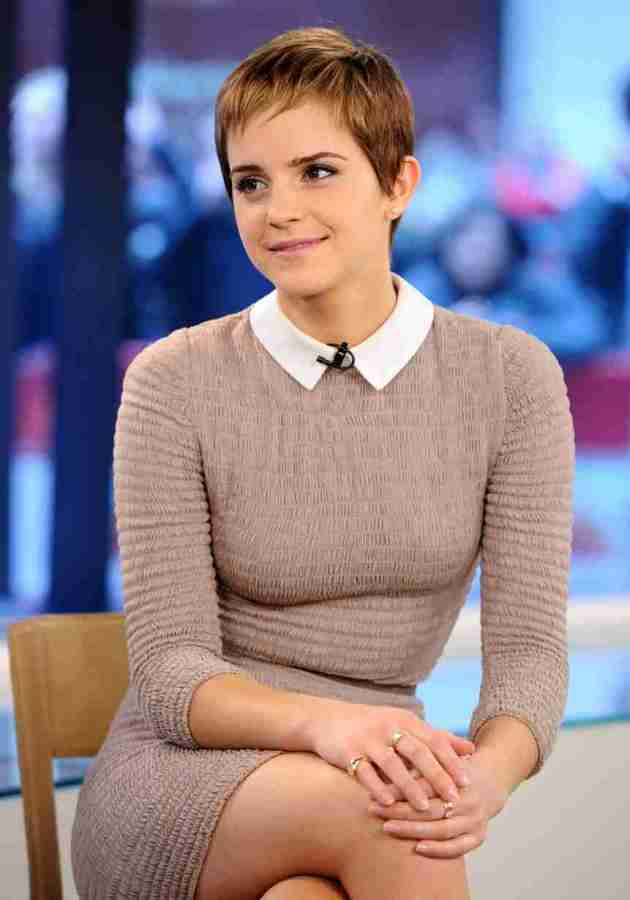 emma watson fitted outfit with short hair