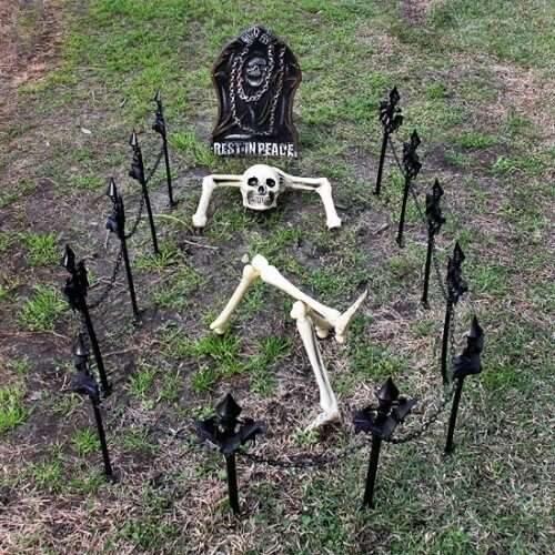 funny halloween skeleton decoration idea for graveyard
