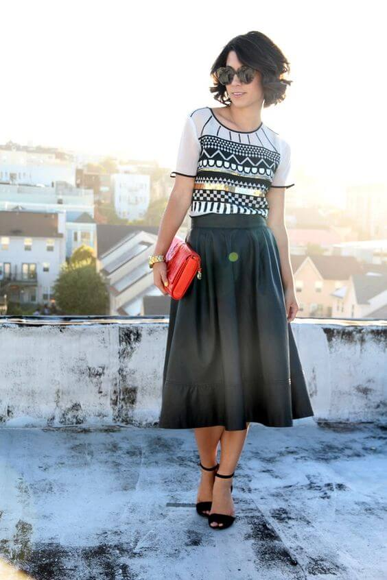 long skirt outfit with short hair