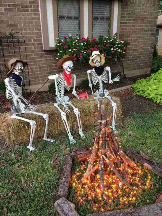 outdoor bonfire halloween skeleton decoration idea