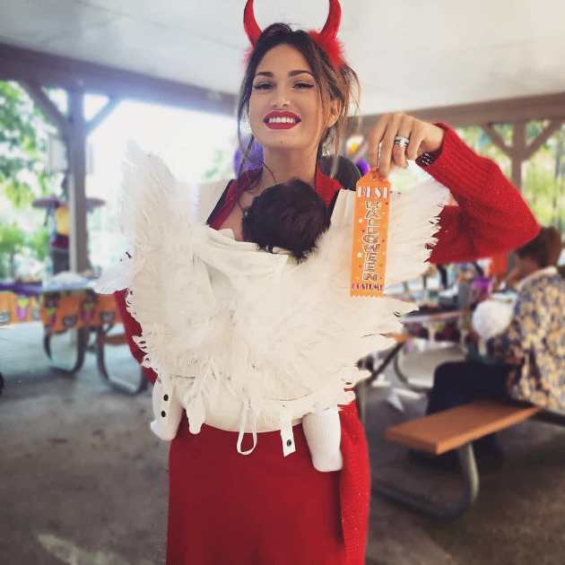 angel baby carrier halloween costume idea