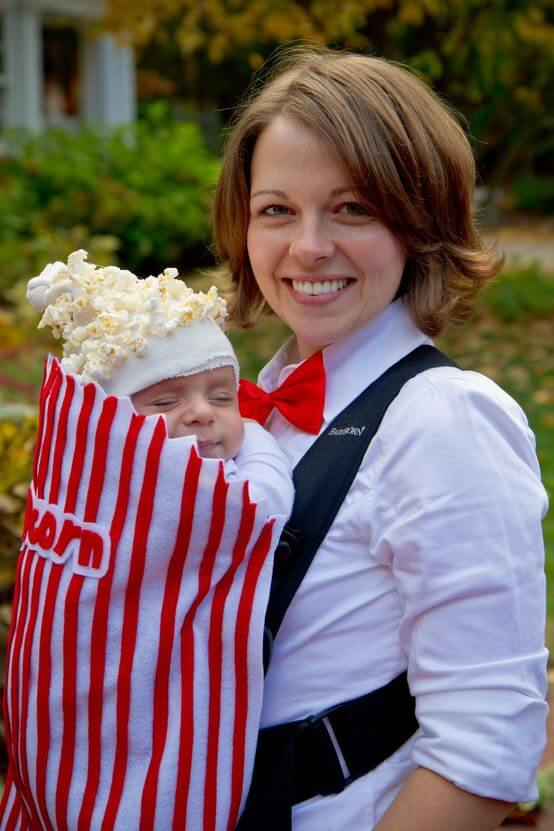 bag of popcorns baby carrier halloween costume idea
