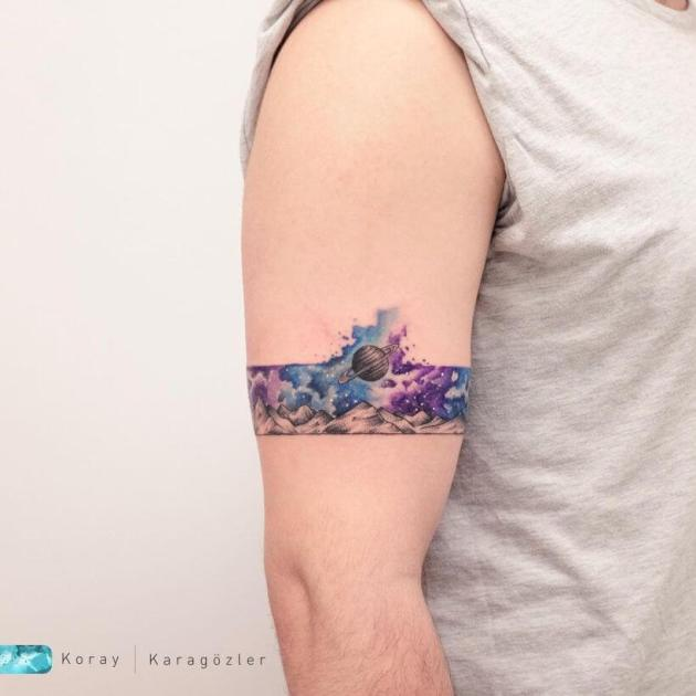 bicep armband galaxy explosion tattoo for men