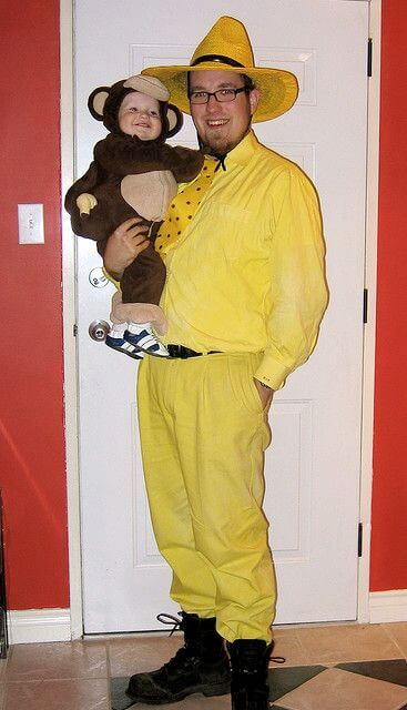 curious george baby carrying halloween costume idea