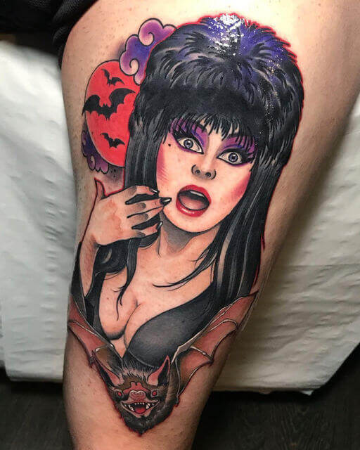 elvira and bat tattoo