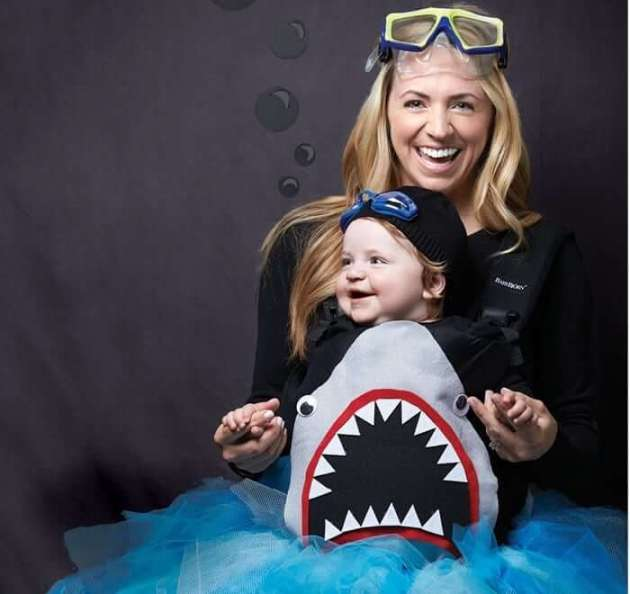 little shark baby carrier halloween costume idea