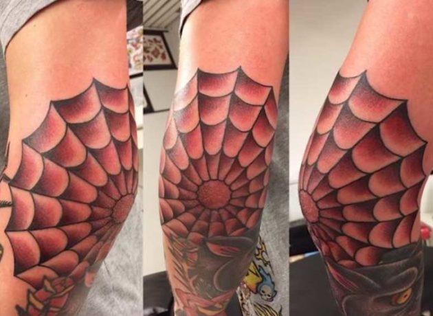 spider web tattoo design on elbow