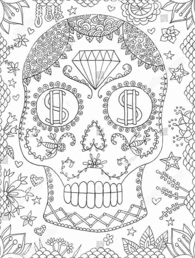day of the dead halloween skull coloring picture