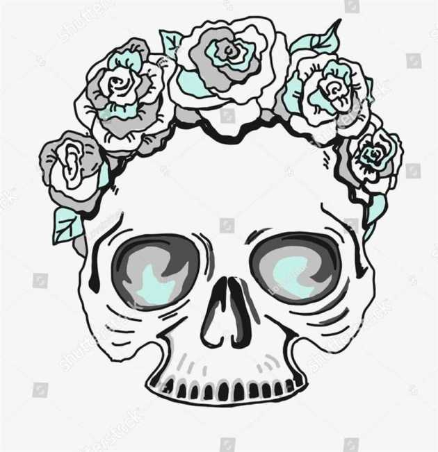 flowers crown half skull coloring picture