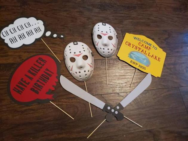 friday the 13th props birthday decoration idea for halloween