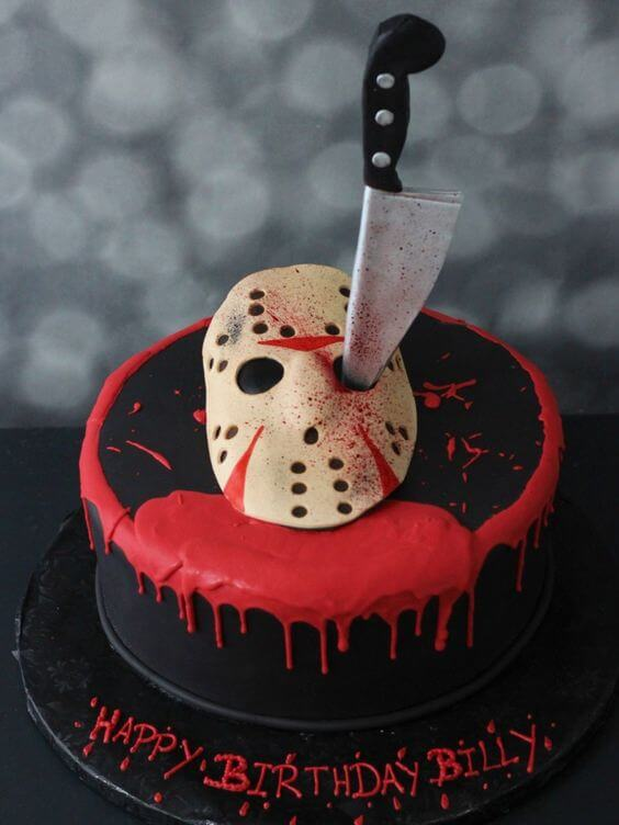jason mask and knife bloody friday the 13th cake design idea