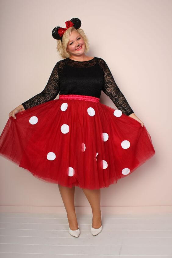 minnie mouse homemade plus size halloween costume idea
