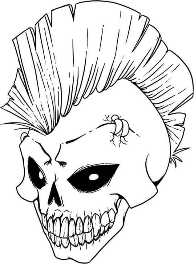 mohawk evil skull coloring picture