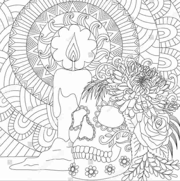 skull and candle halloween coloring picture