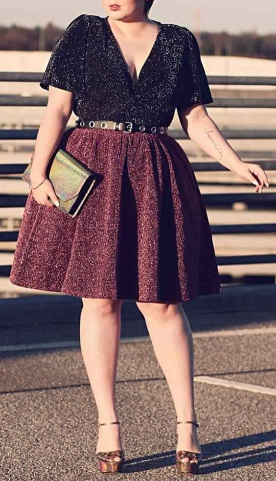 sparkly plus size black and maroon dress for christmas