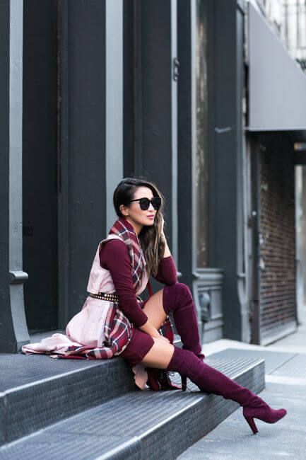 burgundy outfit paired with burgundy winter suede boots