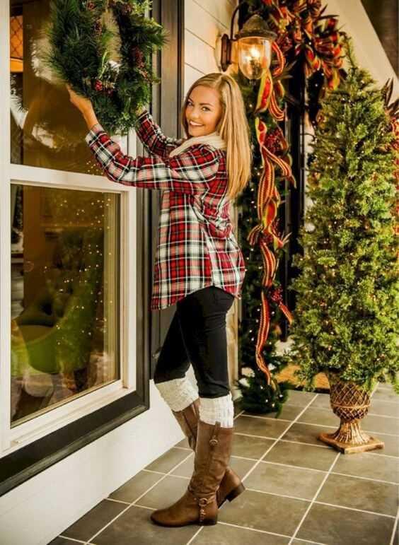 casual christmas plaid shirt dress ideas for females