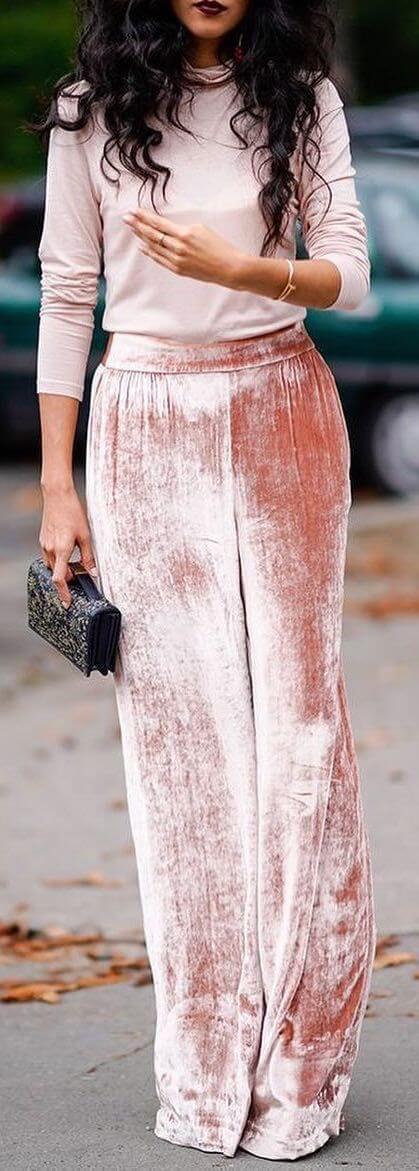 casual female wide leg velvet dress ideas for christmas holidays