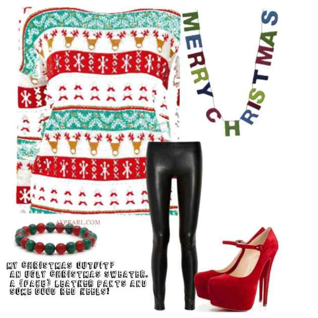 casual leather pant christmas outfit ideas for females